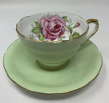 Aynsley Mint Green Pink Cabbage Rose Teacup & Saucer