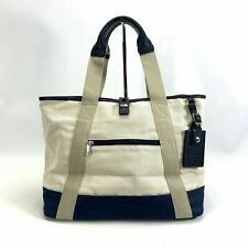 Tumi x Orlebar Brown White and Navy Blue Canvas Pool Tote Small Limited Edition