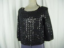 Vtg 60s Heavy Sequin Long Sleeve Sparkly Top-Bust 37/XS-S