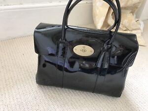 Genuine Black Patent Leather Mulberry Bayswater Handbag