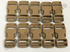 LOT OF 10 Side Release Side Squeeze Dual Adjust Buckle 1 INCH - SAND