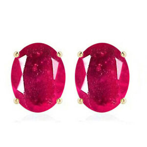 14KT Yellow Gold / 2.60Ct Oval Shape 100% Natural Burmese Red Ruby Women's Studs