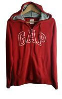 Gap Mens Oversized Zip Through Hoodie Small S Red Hooded Jacket Long Sleeved