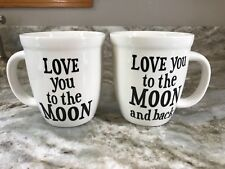 Coffee Mugs Set Of 2. Love You To The Moon And Back. 14 Ounce. New.