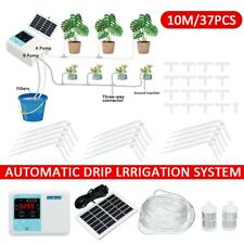 10m Drip Water Irrigation System W/ Solar Panel Auto Self Watering Plant Timer