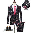 Men's One Button Suit 2pcs Floral Printed Blazer Jacket Pants Wedding Dress Prom