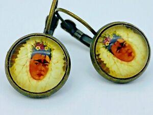 "Frida Kahlo ""Diego Rivera On My Mind"" Round Earrings Artisan Brass Tone"
