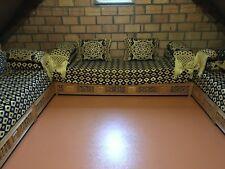 Salon canapé marocain à 3 éléments,avec assise et coussins, 2 x 3 m + 1 x 2,25 m