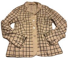 Preownes Women S Max Mara Creme Gray Grid Square Blazer 6 Career- Stains