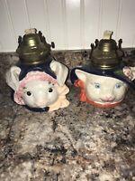 Vintage Bunny/Rabbit & Mouse?  Ceramic Oil Lamps Set of 2