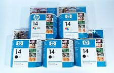 HP 14 Tri Color And Black Ink Cartridge Genuine Sealed Expired Inkjet Lot of 5