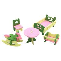 1 Set / 5 Pz Bambino In Legno Casa Delle Bambole Casa Delle Bambole In Mini O2B8