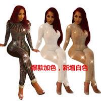 Womens long sleeve mesh hot fix rhinestone clubwear party casual jumpsuit romper