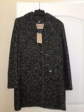 New Authentic Black White Tweed BURBERRY BRIT Wool Leather Trim Coat Jacket 8 42