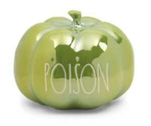 Rae Dunn POISON Green Luster Pumpkin Iridescent New Release Halloween!! Medium