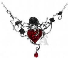 New Alchemy Gothic Bed of Blood Roses Pendant Necklace Pewter Red Crystal P630