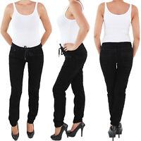 Damen Hüft Stretch Samt Look Cord Hose mit Tunnelzug Schwarz Jeans
