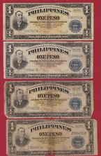 PHILIPPINES 1944 1  PESO LOT OF 4 NOTES VICTORY SERIES