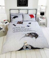 Duvet Day Grey Novelty Quilt Cover 3D Cat Funny Boys / Girls Bedding ~ FREE P&P