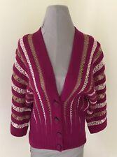 M Missoni Cardigan Sweater Wool With Gold Metallic Lured Knit Crochet Size Small