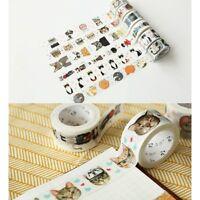 DIY Cartoon Cat Self Adhesive Colorful Washi Masking Tape Dairy Notes Sticker!