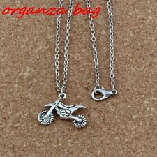 2pcs Motorcycle Charm Pendant Necklaces Ancient silver Jewelry DIY 18 inches