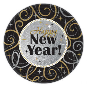 8 x New Year Party Dinner Plates 26.6cm Black Silver Gold New Year Party Plates
