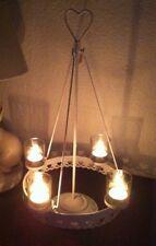 Kerzenhalter*Leuchter*4 -flammig Weihnachten*Metall*Weiss Landhaus*Shabby*Advent