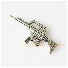 8Pcs Antiqued Silver Tone Machine Gun Charms Pendants 14.5x32.5mm