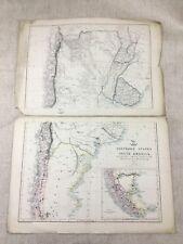 Antique Map of South America Chili La Plata Uruguay Hand Coloured 19th Century
