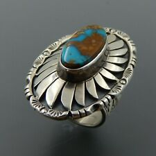 Handcrafted sterling silver oval turquoise floral saddle wide ring size 7.75