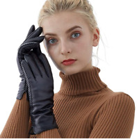 Genuine Sheepskin Leather Gloves For Women, Winter Warm Touchscreen Texting Cash
