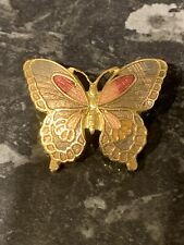 Dainty Butterfly Brooch Macintosh Style Bnwt Gold Plated Grey Enamel