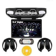 US Hot 15.6'' Car DVD Player TV Monitor Roof Mount Flip Down Free Headphones