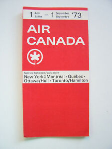 Air Canada Timetable Between NY and Various Canadian Cities Jul 1 - Sep 1 1973