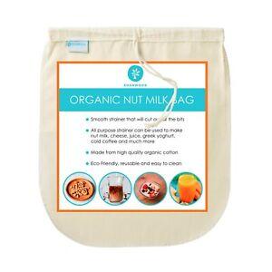 "Nut Milk Bag 10"" x 12"" - Organic Cotton - Strainer for Milk / Juice / Smoothies"