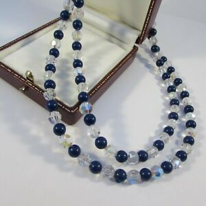 Vintage Mid-Century Navy & Glass Crystal Beaded Necklace