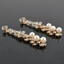 Women Bridal Pearl Pierced Dangle Chandelier Earring Charm Rhinestone Crystal