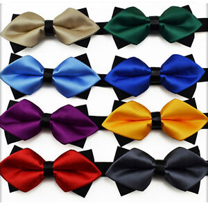 Men Stylish Solid Diamond Tip Bowtie Wedding Tuxedo Pre-tied Adjustable Bow Ties