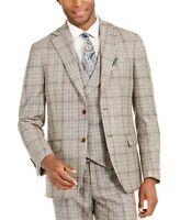 Tallia Orange Men's Slim-Fit Brown Plaid Flannel Suit Jacket 38R