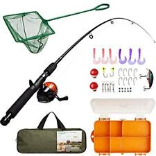 Kids Rod & Reel Combos Fishing Pole Tackle Box - Net, Travel Bag, Spincast Guide