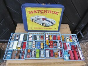 Vintage 1960s era Matchbox Collectors case with 4 blue trays filled with cars