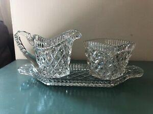 Vintage Cut Glass Milk Jug & Sugar Bowl on serving tray square shape