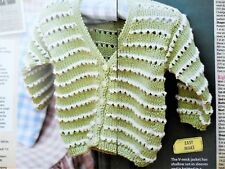 Baby Girl's V-neck JACKET CARDIGAN ~ Sizes 3-18 months ~ Knitting Pattern NEW