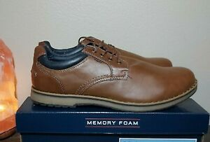 IZOD Men's Cal Oxford Memory Foam Comfort Brown Laced Casual Shoe NWOB~Pick Size