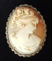 Silver & carved shell cameo vintage Victorian antique maiden brooch A