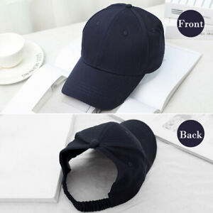 Backless Ponytail Baseball Cap for Women Afro Curly Hair Bun Sun Hat Cap Black