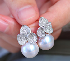 gorgeous 9-10mm south sea round white pearl earring 925s