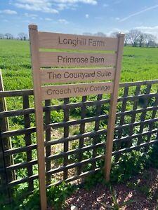 Large Custom Engraved Oak Ladder 4 Slat Sign Solid Oak Freestanding House Sign