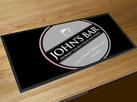 Personalised with your name grey stamp Beer Label Bar runner PUB MAT